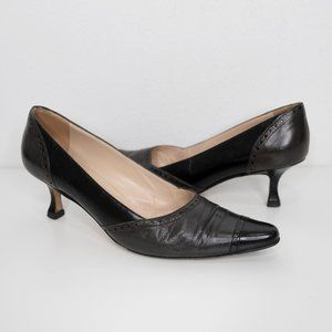 Manolo Blahnik Pointed Toe Leather Brogue Pumps